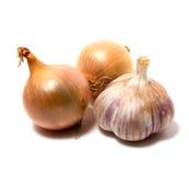 Knoblauch und Zwiebel getrennt auf Weiß Stockfoto