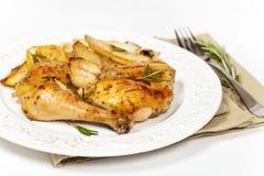Knoblauch, Zitrone und Rosemary Roasted Chicken lizenzfreie stockfotografie