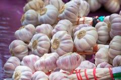 Knoblauchbündel in einem Markt Stockfotos