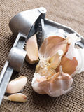 Knoblauchnelken und Knoblauchpresse Stockfoto