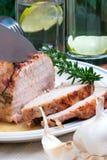 Knoblauchrosemary-Braten-Schweinefleisch Stockbilder