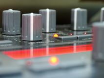 Knobs... Analog sound processor knobs stock photo