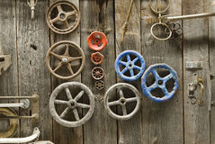 Knobs and handles on barn door stock photos