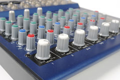 Knobs on Mixing Board. A mixing board on a preamplifier Royalty Free Stock Photography