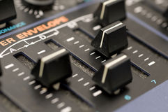 Knobs on Synthesizer Royalty Free Stock Images