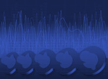 Knobs, waves and leds background. Kobs, waves and leds graphics on blue background royalty free illustration