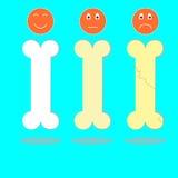Knochen mit Kalzium und glücklichen Gesichtern Lizenzfreie Stockbilder