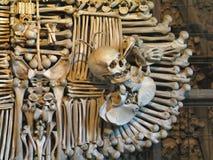 Knochen-Rabe und ein Schädel stockbild