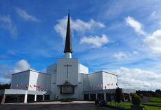 Knock Cathedral Ireland. Knock Cathedral County Mayo Ireland with cloudy sky stock photo