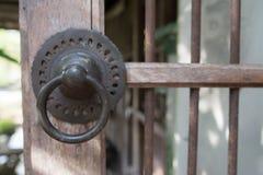 Knock the door. Made of antique brass stock photos