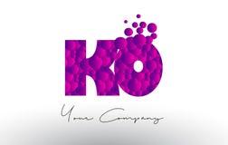 knock-out K O Dots Letter Logo con textura púrpura de las burbujas libre illustration