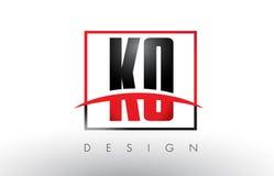 knock-out K O Logo Letters con colores rojos y negros y Swoosh ilustración del vector