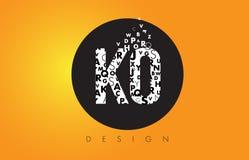 knock-out K O Logo Made de pequeñas letras con el círculo negro y B amarillo stock de ilustración