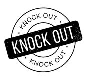 Knock Out rubber stamp. Grunge design with dust scratches. Effects can be easily removed for a clean, crisp look. Color is easily changed Royalty Free Stock Images