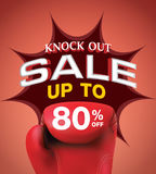 Knock out sale 80 percent heading design for banner or poster. S Royalty Free Stock Images
