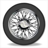 Knock On Wire Wheel. A traditional knock on wire spoke sports car wheel and tyre Royalty Free Stock Images