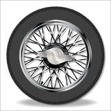 Knock On Wire Wheel. A traditional knock on wire spoke sports car wheel and tyre Stock Images