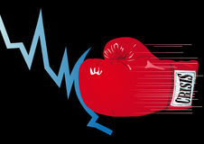 Knocked-out. Abstract vector illustration of a graph being knocked out by a boxing glove Stock Photos