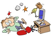 Knocked out computer guy. A toon character knocked out by a computer with a wooden club coming out of the screen Stock Photos