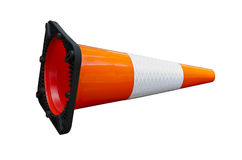 Knocked over bright orange traffic cone  Stock Photography