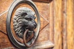 Knocker двери льва головной на деревянной двери Стоковое Изображение