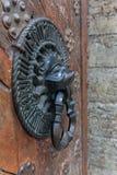 Knocker льва головной, старые ручки бронзы на старой двери дуба Стоковое фото RF