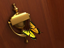 Knocker and butterfly Royalty Free Stock Photography