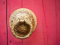 Knocker on the chinese traditional red door, chinese style Royalty Free Stock Images