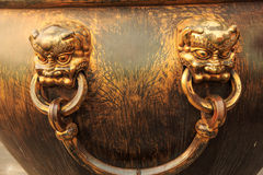 Knocker. The imperial palace in bronze knocker on it Stock Photos
