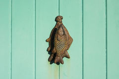 Knocker on light green door Stock Images