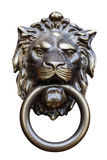 Knocker. Old style lion's head knocker isolated on white stock images