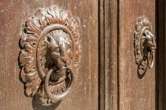 Knocker in wood and bronze. Old door knocker on ancient door of wood and bronze Royalty Free Stock Photo