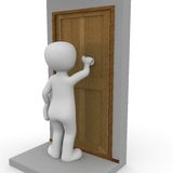 Knocking on the door. A 3D character knocks on a door vector illustration