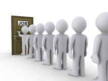 Knocking on door for job. 3d people in line waiting for job interview Royalty Free Stock Photos