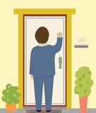 Knocking on the Door Stock Photo