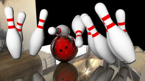 Knocking down bowling Stock Images