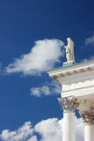 Knocking on heaven's door. A vertical image with an effect of a statue touching the cloud Royalty Free Stock Photography