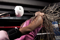 Knockout. Blonde girl getting knocked out in a boxing ring royalty free stock photography