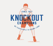 Knockout champions club. Vector boxing concept for any use Stock Images