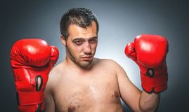 Knockout - Funny boxer. Beaten boxer over dark gray background. Close up boxing man with outstretched arms Stock Images