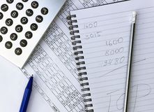 Knoei op uw Desktop Calculator, notitieboekje, documenten royalty-vrije stock foto