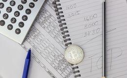 Knoei op uw Desktop Calculator, notitieboekje, documenten, Bitcoin royalty-vrije stock fotografie