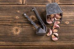 Knoflook en knoflookpers Royalty-vrije Stock Foto's
