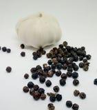 Knoflook en peper stock foto