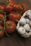 Knoflook en tomaten Royalty-vrije Stock Afbeelding