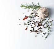 Knoflook met droge peper en Spaanse peper Stock Afbeeldingen