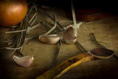 Knoflook met lepel Stock Afbeelding