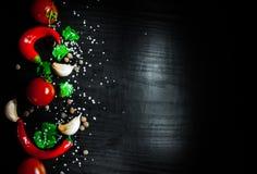 Knoflook, rode Spaanse peperpeper, tomaat op donkere houten achtergrond met exemplaarruimte Stock Foto's
