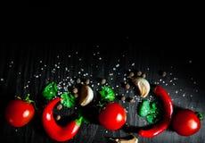 Knoflook, rode Spaanse peperpeper, tomaat op donkere houten achtergrond met exemplaarruimte Stock Foto