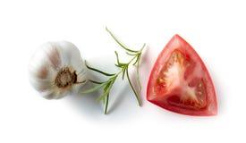 Knoflook, rozemarijn, tomaat royalty-vrije stock afbeeldingen